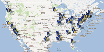 Map of mentoring sites